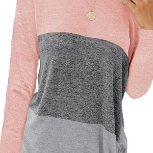 Tops - Pink Color Block Crew Neck Blouse